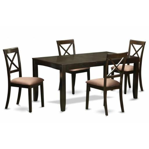 East West Furniture LYBO5-CAP-C 5 Piece Dining Table Set For 4-Dining Table With Leaf Plus 4 Chairs For Dining Room