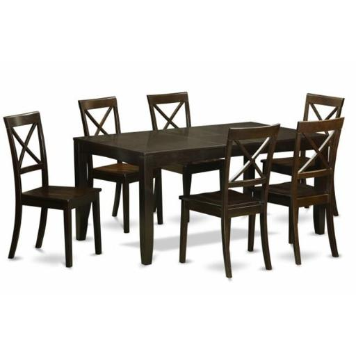 East West Furniture LYBO7-CAP-W 7 Piece Formal Dining Room Set-Dining Room Table With Leaf 6 Chairs For Dining Room