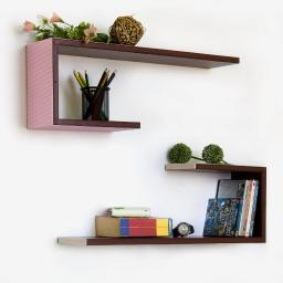 Exquisite Grid Crutch-Shaped Leather Wall Shelf / Floating Shelf (Set of 2)