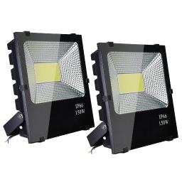 DELight 150W LED Flood Light 15225LM Security Spotlight Cool White 6500K IP66 960W Halogen Bulb Equivalent(pack of 2)