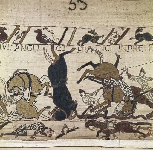 Bayeux Tapestry. 1066-1077. Scene Of The Battle Of Hastings. Detail. Romanesque Art. Decorative Arts; Tapestry. France. Bayeux. Archaeological.