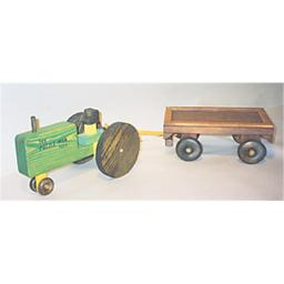 The Puzzle-man Toys W-2081 Wooden Play Farm Series - Accessories Special - Tractor + Wagon