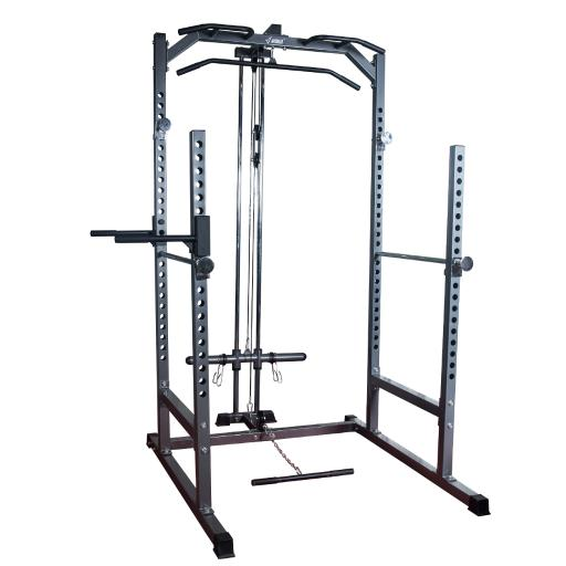 AKONZA Power Rack Cage Gym Squat Pull Up Dip Station w/ Lat Attachment Kit