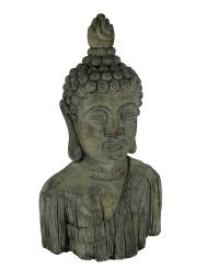 Large Distressed Gray Concrete Buddha Bust Statue