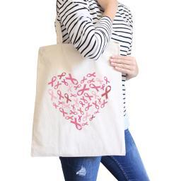 Heart Pink Ribbon Canvas Tote Natural Cute Canvas Shoulder Bag Gift