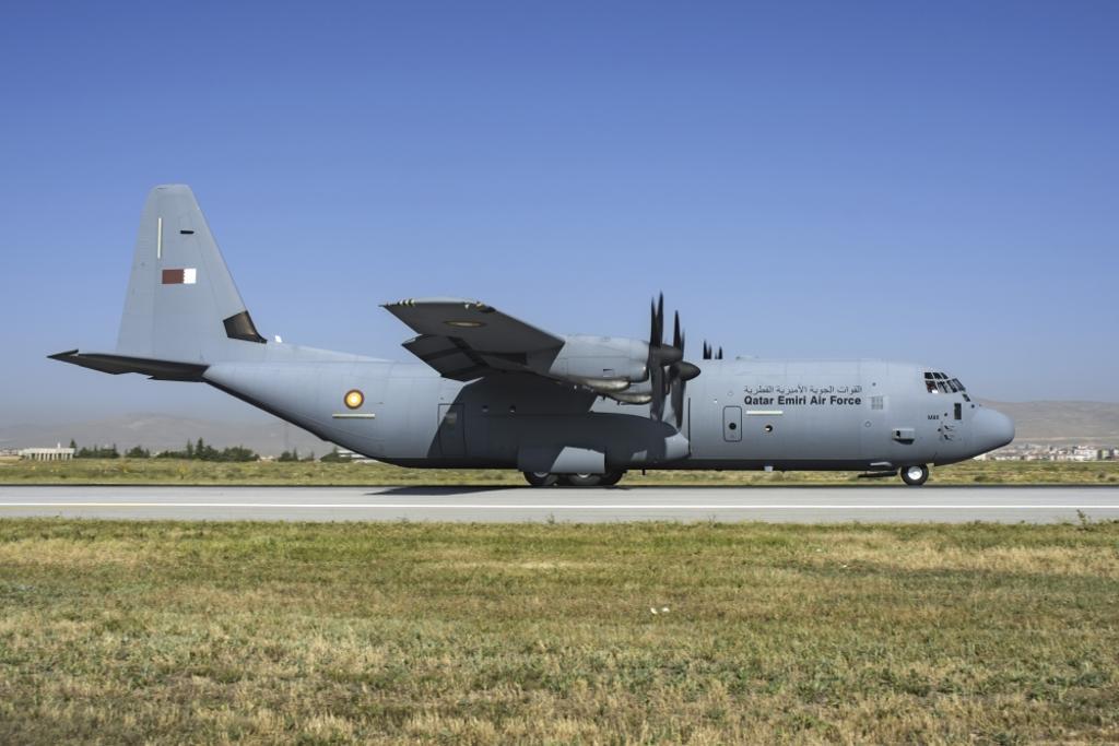 A Qatar Emiri Air Force C-130J-30 Hercules landing at Konya during the international Exercise Anatolian Eagle 2014-2 in Konya, Turkey Poster Print