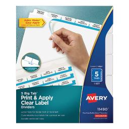 Print And Apply Index Maker Clear Label Dividers 5 White Tabs Letter   Total Quantity: 1
