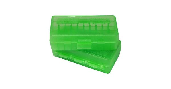 Mtm p50-44-16 ammo box 50 round flip-top 41 44 45 lc clear green