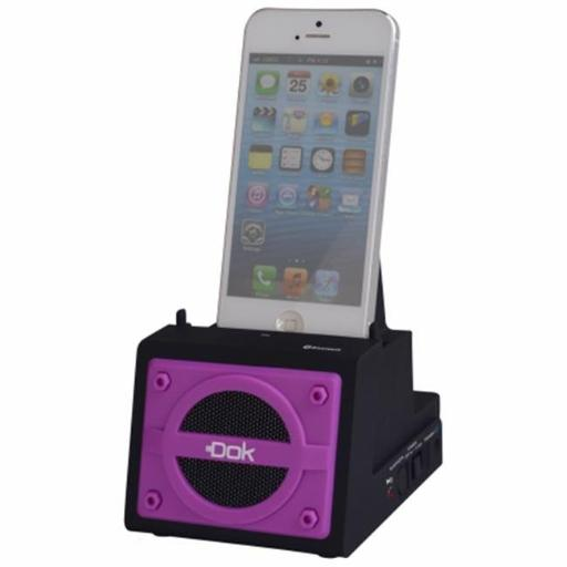 2 Port Smart Phone Charger with Bluetooth Speaker, Speaker Phone, Rechargeable Battery - Purple Face