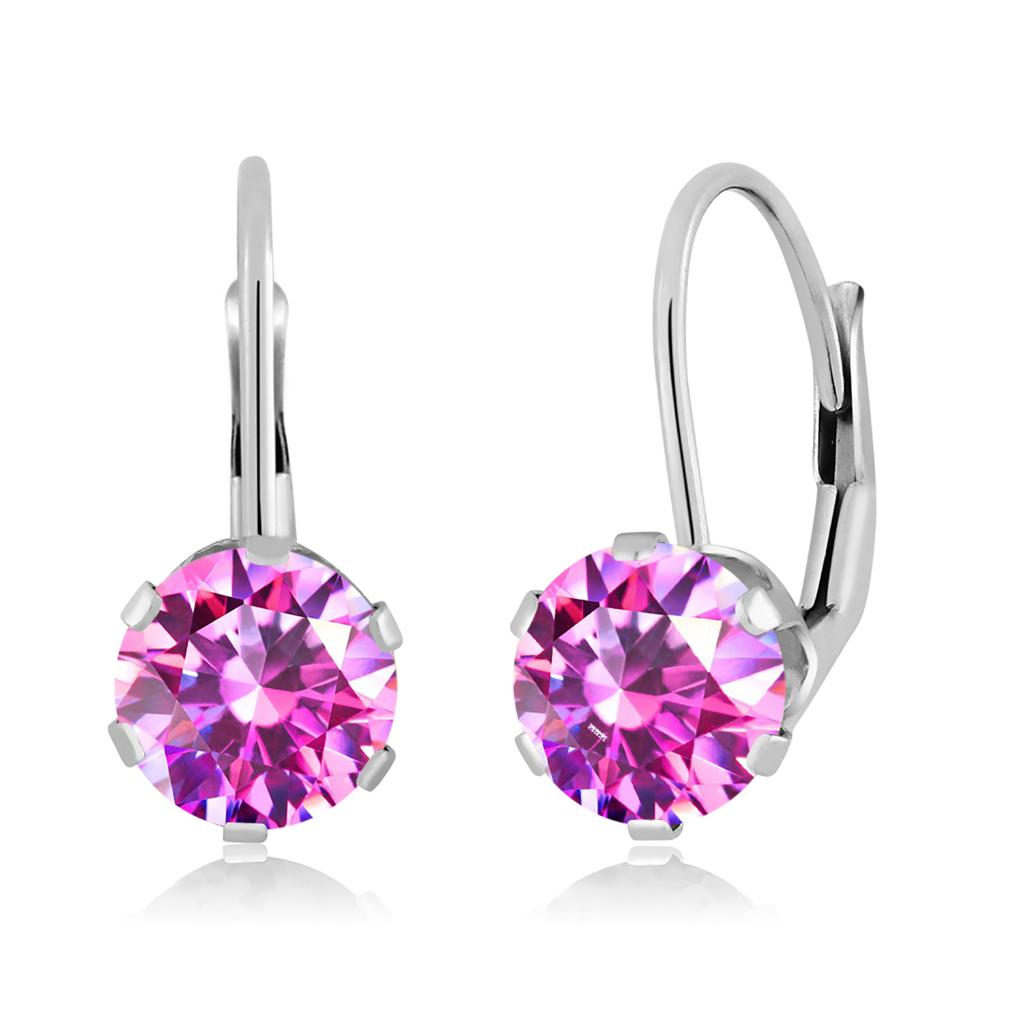 14K White Gold Dangle Earrings Set with Fancy Purple Zirconia from Swarovski