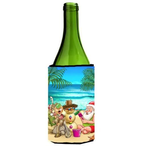 Beach Christmas Santa Claus & Sandman Wine Bottle Can cooler Hugger