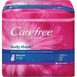 Carefree Acti-fresh Body Shape Regular To Go Fresh Scent Pantiliners 20 Count