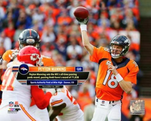 Peyton Manning sets the NFL's all-time passing yards record- November 15, 2015 Photo Print