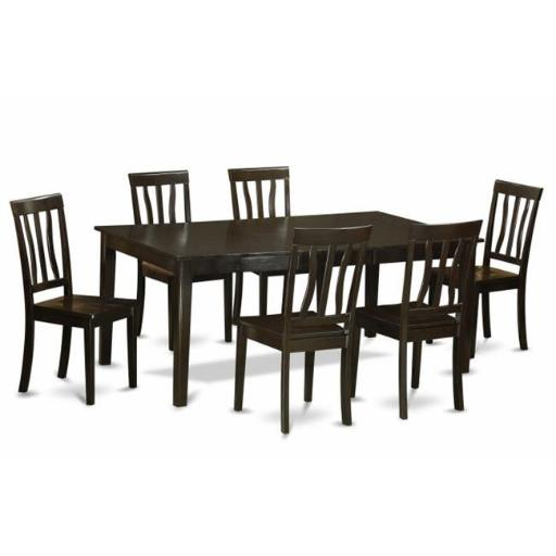 East West Furniture HEAN7-CAP-W 7 Piece Formal Dining Room Set-Table With Leaf and 6 Kitchen Chairs