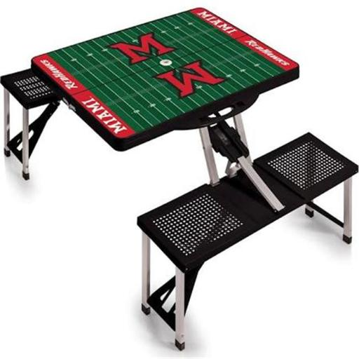 Picnic Time 811-00-175-335-0 Miami University Redhawks Digital Print Portable Folding Picnic Table with Four Seats, Black