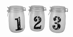 1, 2, 3 Vintage Look Glass Storage Jars Three Piece Set