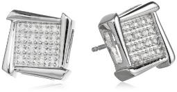 Sterling Silver and Diamond Geometric Stud Earrings (1/10 cttw, I-J Color, I2-I3 Clarity)