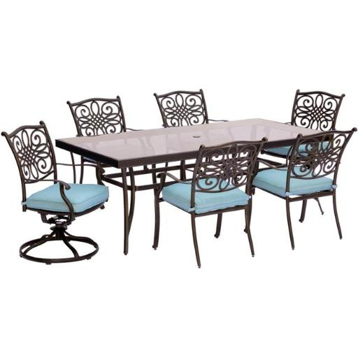 Hanover TRADDN7PCSW2G-BLU Traditions Dining Set with Chairs, Swivel Chairs & Glass Table - 7 Piece, Blue