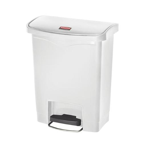 Rubbermaid Commercial Prod. 1883555 Slim Jim Resin Step On Container, Front Step Style & 8 Gal-White