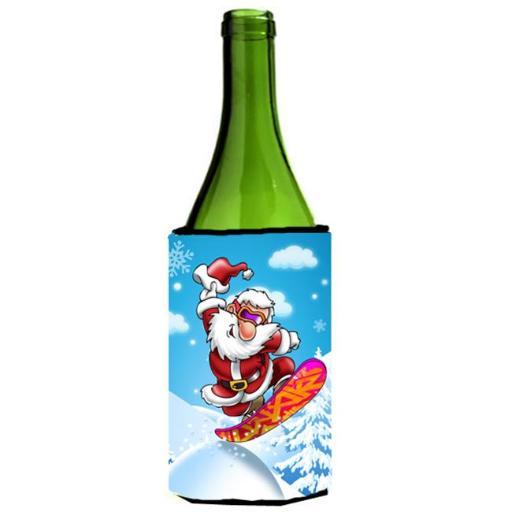 Carolines Treasures APH6388LITERK Christmas Santa Claus Snowboarding Wine Bottle Can cooler Hugger