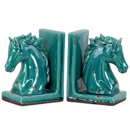 Urban Trends Collection 11150-AST 4 Piece Distressed Gloss Turquoise Stoneware Horse Head on Base Bookend Assortment, Set of Two - 6.00 x 4.00 x 8.50