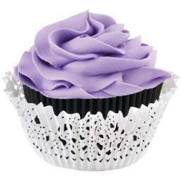 Doily Standard Baking Cup Kit Black Inner Cup & White Outer Cup 24/Pkg