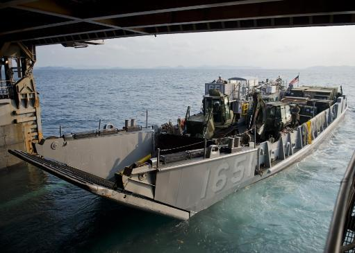Gulf of Thailand, February 9, 2013 - Landing Craft Utility 1651, departs the well deck of the Whidbey Island-class amphibious dock landing ship.