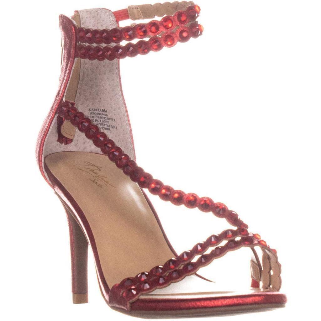 Thalia TS35 Darrla Wrap Ankle Strap Sandals, Red Metallic