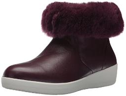 FITFLOP Women's SKATEBOOTIE Leather Boots with Shearling Ankle, Deep Plum, 7 M US
