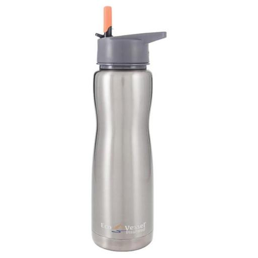 24 Oz. Summit Insulated Stainless Steel Water Bottle With Flip Straw, Silver