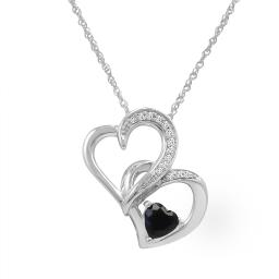 Sterling Silver Created Sapphire and Diamond Heart in Heart Pendant-Necklace