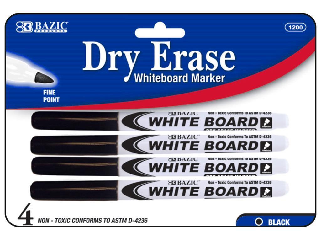 1200-24 bazic dry erase marker fine tip black 4pc
