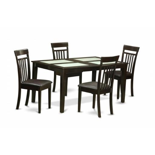 East West Furniture CAP5G-CAP-LC 5 Piece Dining Room Set-Glass Top Dinette Table and 4 Dining Room Chairs