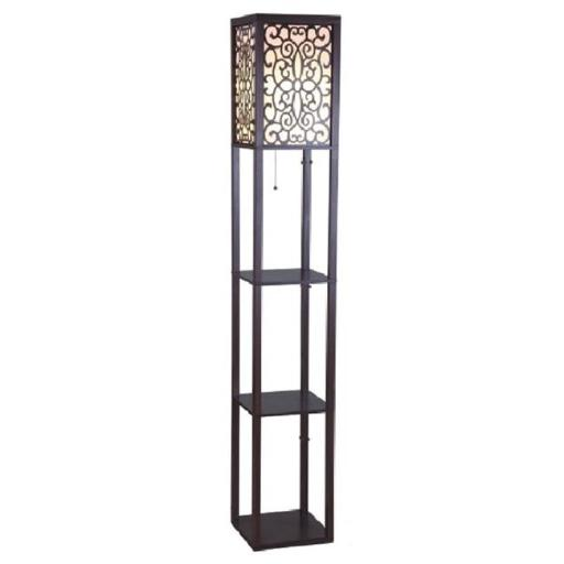 Q-Max 706958BRA 63 in. Brown Wooden Shelf Floor Lamp with Floral Shade Panels