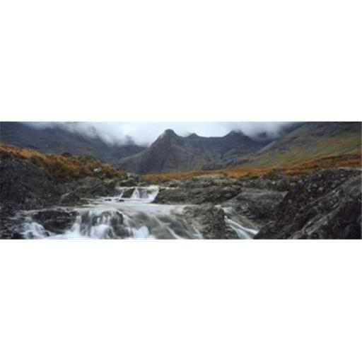 Panoramic Images PPI138101L Water falling from rocks Sgurr a Mhaim Glen Brittle Isle of Skye Scotland Poster Print by Panoramic Images - 36 x 12