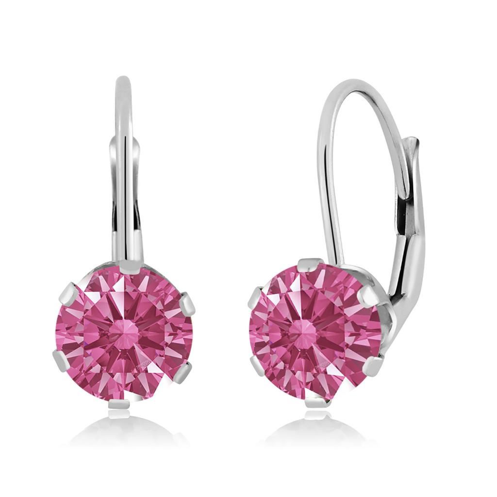 14K White Gold Dangle Earrings Set with Round Red Zirconia from Swarovski