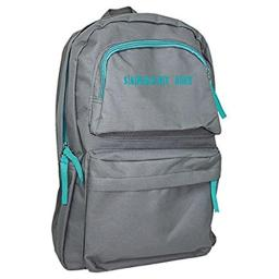 Economy Backpack Gray with Teal Zipper