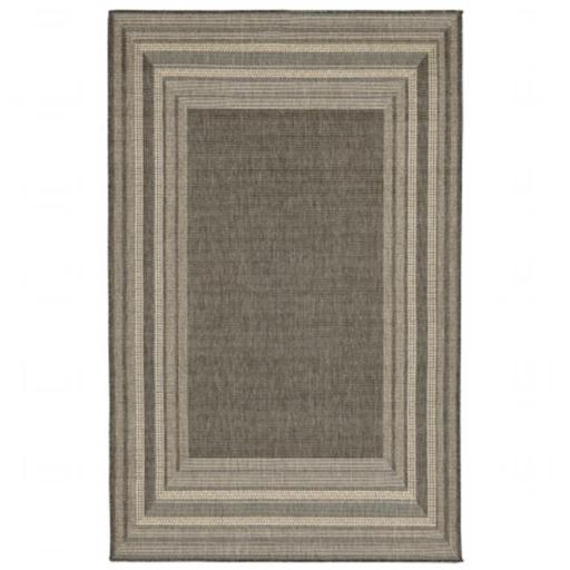 Liora Manne TER58276167 Wilton Woven Terrace Etched BDR 100 Percent Polypropylene Border Rug, Grey - 4 ft. 10 in. x 7 ft. 6 in.