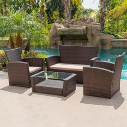 BELLEZE 4pc Patio Conversation Set Outdoor Wicker UV Coffee Table Backyard Furniture Garden Sectional Sofa, Brown