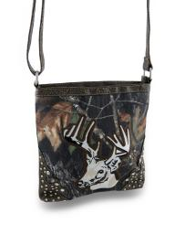 Forest Camo Deer Head Cross Body Bag w/Glossy Studded Trim