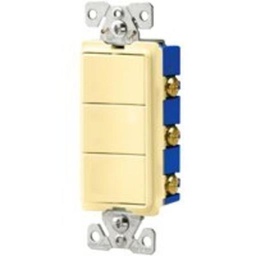 Cooper Wiring 7729v-sp 3-single Pole Switches, 15 Amp, Ivory