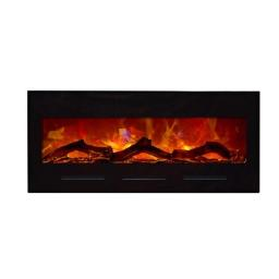 Amantii WM-BI-28-3421-BLKGLS 28 In. Electric Fireplace With 34 x 21 In. Black Glass Surround