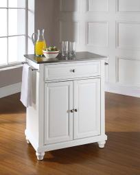 Crosley Cambridge Stainless Steel Top Portable Kitchen Island in White Finish