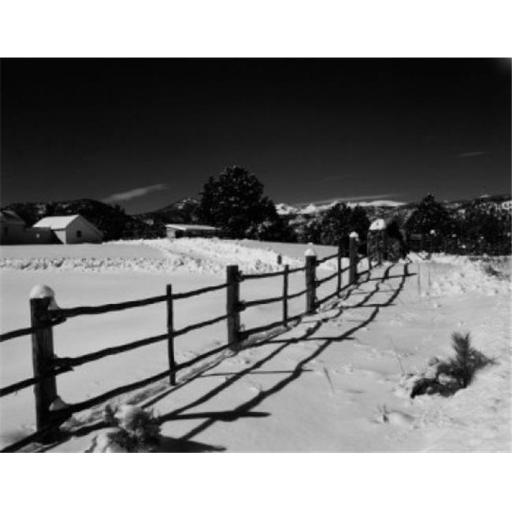 Posterazzi SAL255424811 USA Colorado Winter Farm Scene with Rail Fence Poster Print - 18 x 24 in.