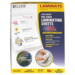C-Line Products 65009 Antimicrobial Protected Cleer Adheer Laminating Film Sheets, Clear