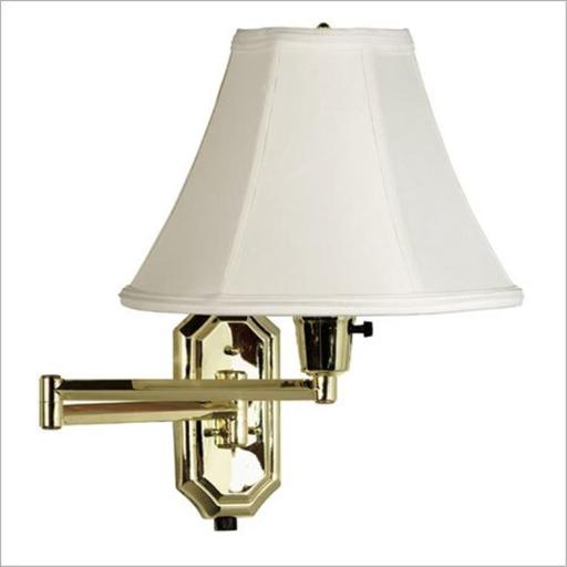 Kenroy Home 30130PB Nathaniel Swing Arm Lamp- Polished Brass Finish