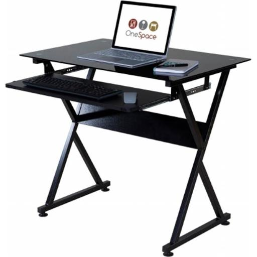 OneSpace 50-JN1205 Ultramodern Glass Computer Desk with Pull-Out Keyboard Tray, Black
