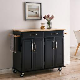 BELLEZE Kitchen Cart with Towel Rack, Cabinet & Drawer, Black