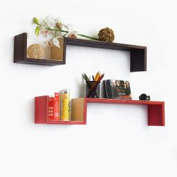 The Exoticism S-Shaped Leather Wall Shelf / Floating Shelf (Set of 2)