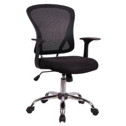 ACD OE1504Black Mesh Mid Back Managers Chair With Pu Leather Seat - Black